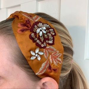 Anthro NamJosh Rust Embroidered Headband